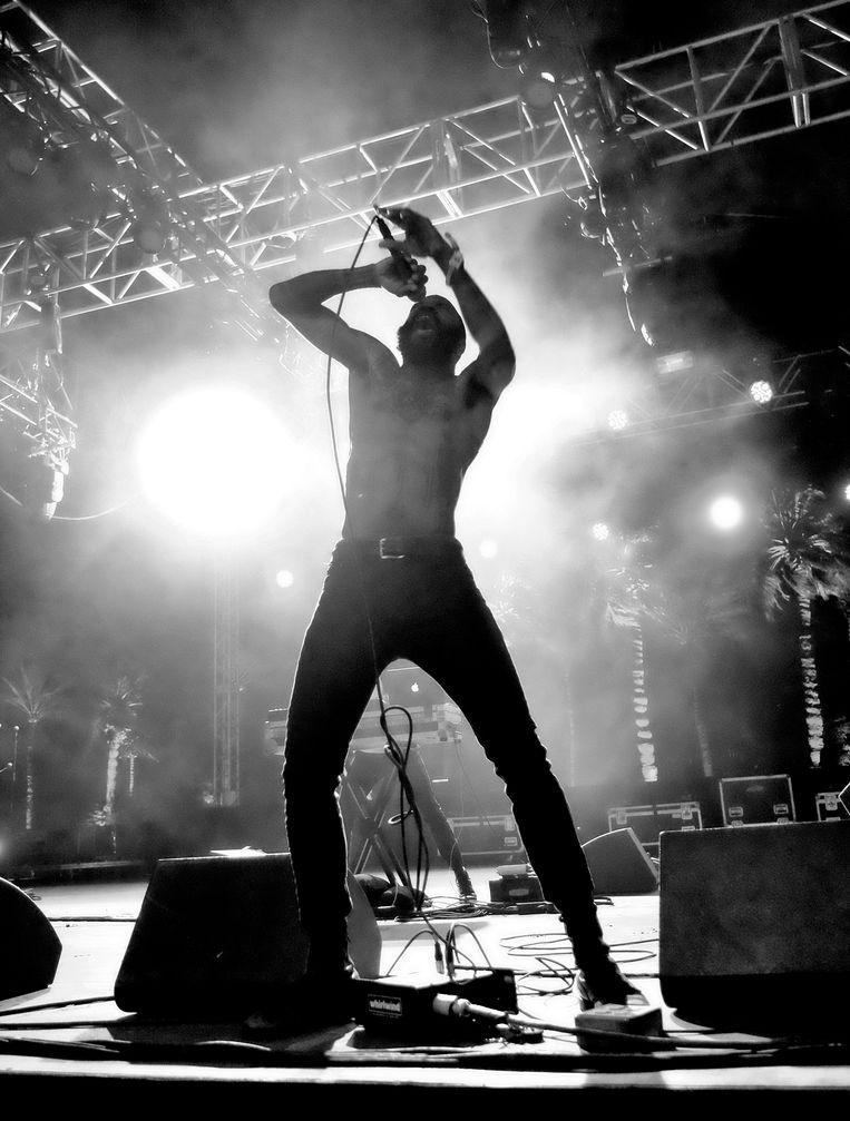 Zanger Stefan Burnett (Death Grips) tijdens Coachella Valley Music & Arts Festival Weekend in 2016. Beeld AFP