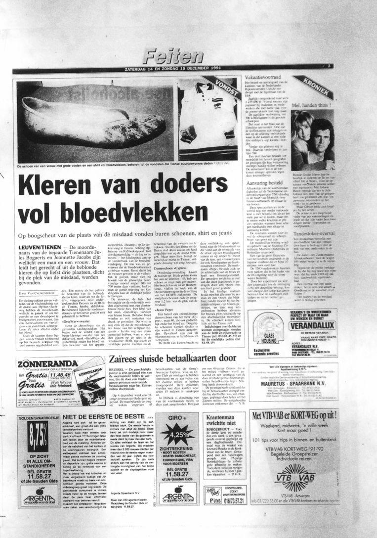 Een weekendkrant van 14 december1991 bericht over de vondst van bebloede kleren. Beeld HLN Archief