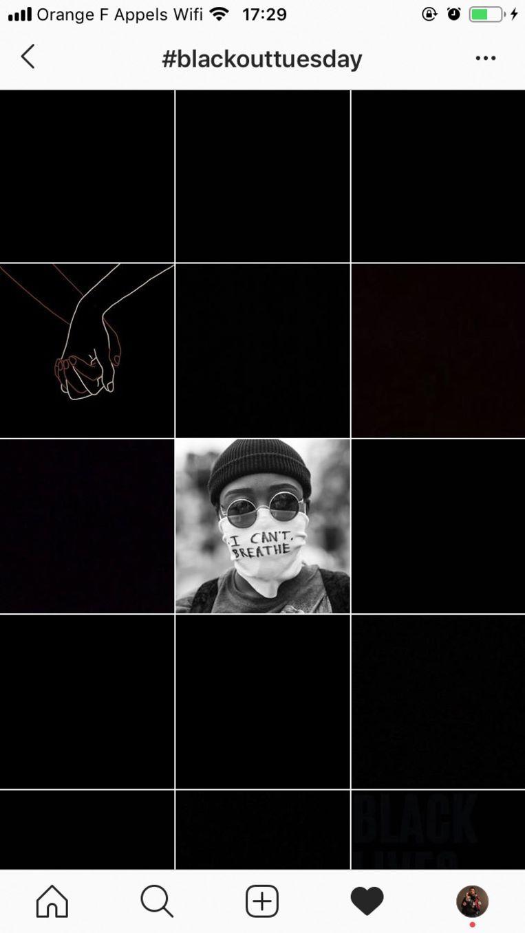 Een zwart vlak op Instagram.  Beeld Hollandse Hoogte / Zuma Press