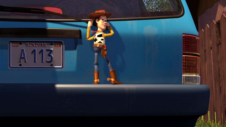 Het 'A113'-moment in TOY STORY, een klassieke easter egg in de films van Pixar. Beeld rv