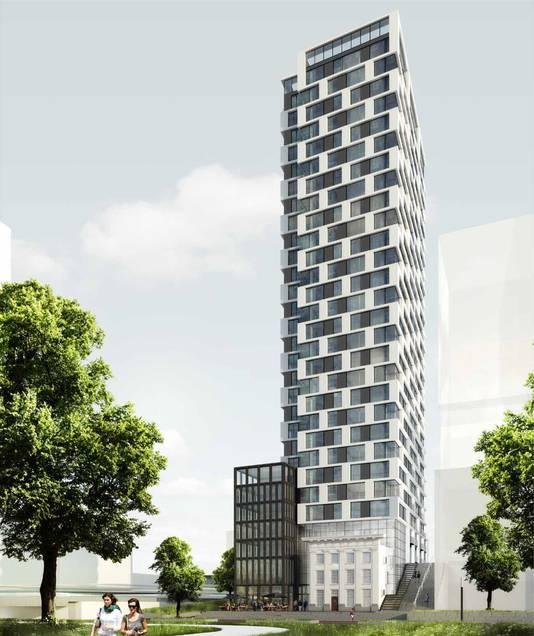Een impressie van de nieuwe woontoren aan de Van Sijpesteijnkade met daarin verwerkt het monumentale gebouw uit 1912.