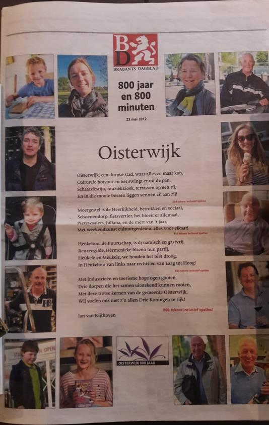 Het gedicht dat Jan van Rijthoven in 2012 voor de Oisterwijk 800-bijlage van het Brabants Dagblad schreef.