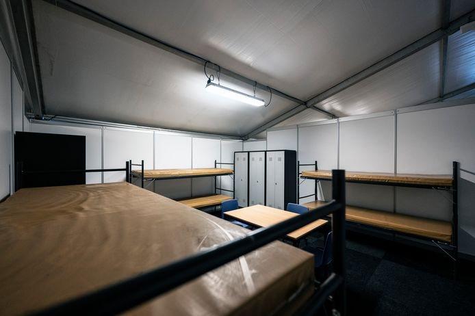 Een van de kamers op Heumensoord, in het weekend voor de eerste evacués zouden arriveren.