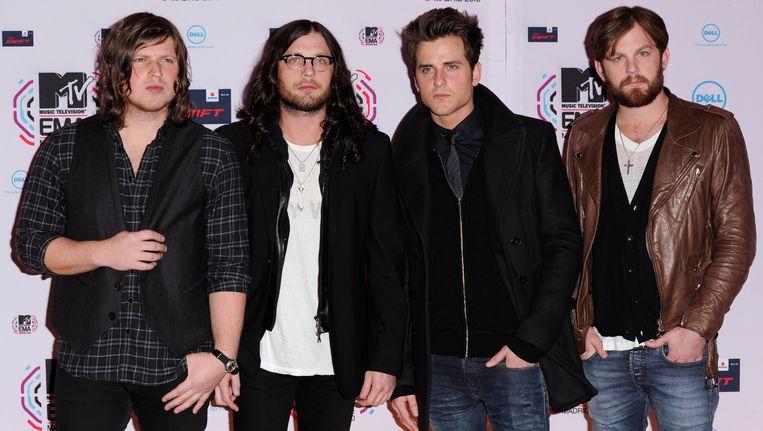 De bandleden van Kings of Leon van links naar rechts: Matthew Followill, Nathan Followill, bassist Jared Followill en zanger Caleb Followill. Beeld AP