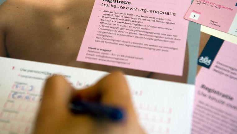 Registratieformulier voor donorregistratie. Beeld anp