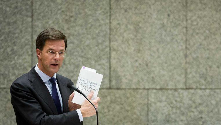 Premier Mark Rutte tijdens het debat in de Tweede Kamer over het rapport van de Onderzoekscommissie Ontnemingsschikking over de Teeven-deal. Beeld anp