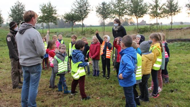 Leerlingen van De Sprong ravotten in Kampveld tijdens de Week van het Bos
