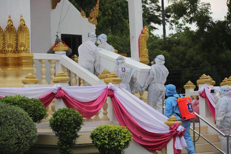 Thailand kampt sinds april met oplopende besmettingscijfers. De stijging is opmerkelijk omdat Nederland sinds zaterdag het reisadvies van Thailand heeft versoepeld en het als 'geel' land beschouwt. Beeld AFP