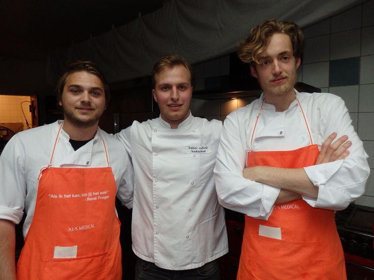 Jorick van der Panne, Pepijn ten Have en Maarten van Keulen (vlnr), van Keizer Culinair. Beeld Schuim