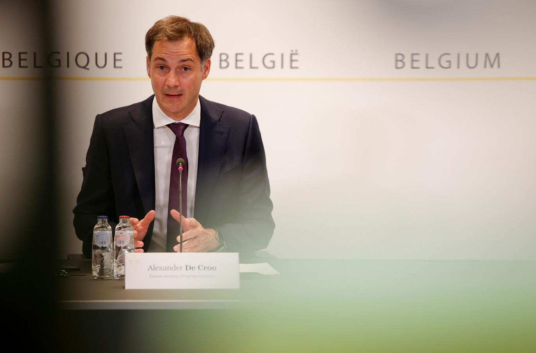 Premier Alexander De Croo (Open Vld) tijdens de persconferentie na het Overlegcomité.