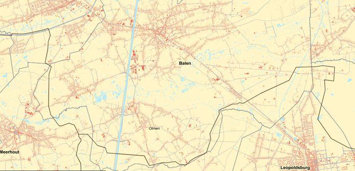 In Balen is maar één van de drie mogelijke tracés van toepassing. Die vertrekt in het oosten van Balen, om in het zuiden onder Olmen te lopen en via Meerhout verder te gaan langs het westen van Balen.