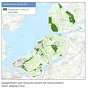 Kaartje van zoekgebieden voor nieuw bos buiten het natuurnetwerk in het rapport van bosgroep Midden Nederland met veel groene vlaktes rond Urk en Dronten.