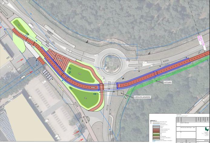 Werktekening voor de fietstunnel.