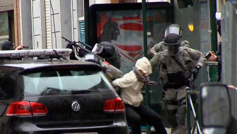 Abdeslam werd op 18 maart vorig jaar gearresteerd in de Vierwindenstraat in Molenbeek. Beeld ap
