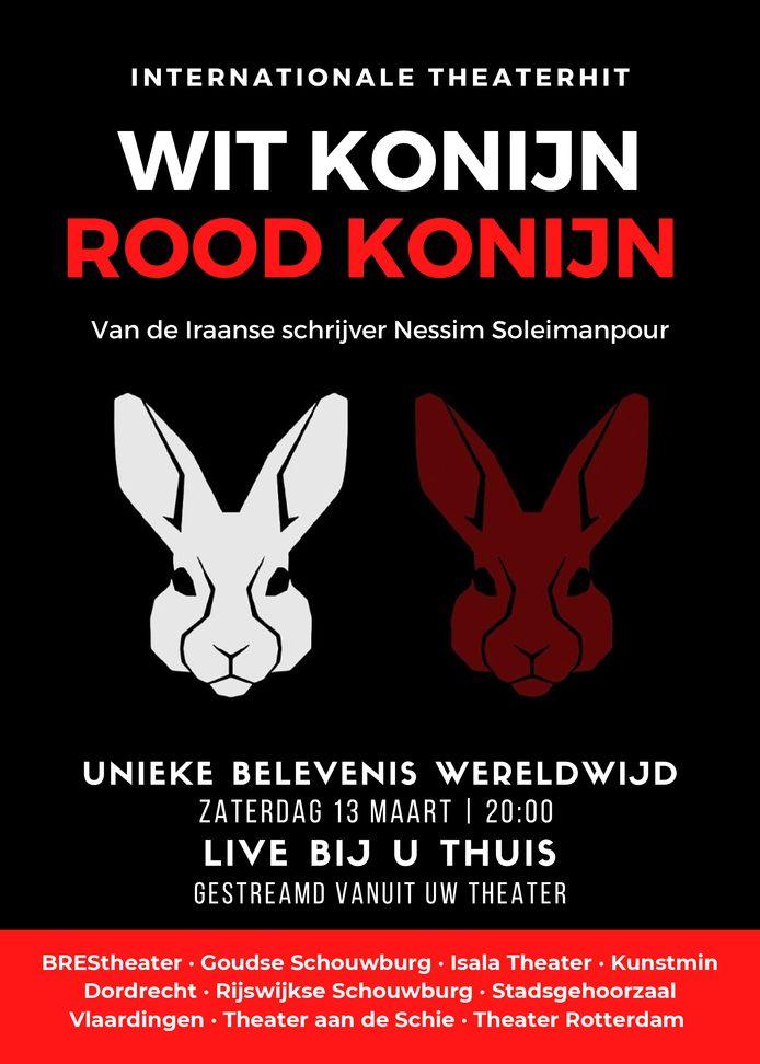 De voorstelling Wit Konijn Rood Konijn is zaterdagavond te bekijken via een livestream vanuit het BREStheater in Brielle