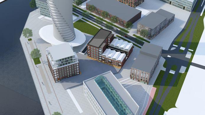 Een artist impression van de woontorens op het toekomstige Timmerplein. Op de voorgrond de Timmerfabriek, linksachter de onderste helft van de iconische toren en daartussen de appartemententorens C Dock(links)  en B Lofts (met de 'Machinefabriekdakjes').