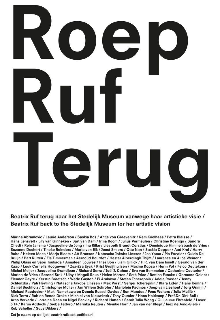 De advertentie in Het Parool om Beatrix Ruf naar het Stedelijk Museum terug te halen. Beeld
