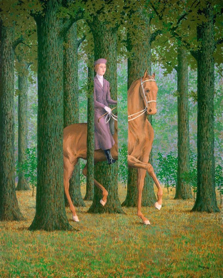 'Le Blanc Seing', een schilderij van René Magritte dat een visuele invloed uitoefende op de game 'Kentucky Route Zero'. En dat ook naast de game op de tentoonstelling hangt. Beeld National Museum of Art