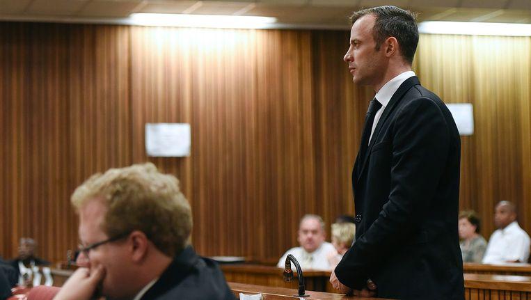 Oscar Pistorius dinsdag in de rechtbank. Beeld anp