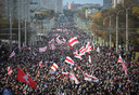 Beeld van de protesten in Wit-Rusland.