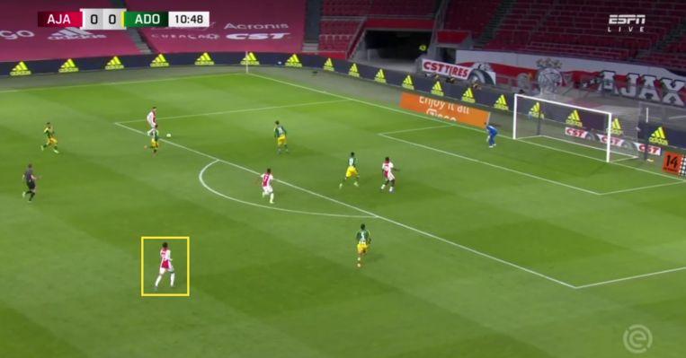 Rensch staat op het punt zijn eerste Ajaxtreffer te maken. Beeld ESPN
