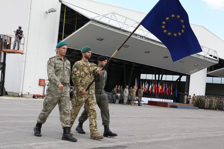 De troepenmacht EUFOR in Bosnië en Herzegovina voert al de Europese vlag. Beeld Hollandse Hoogte / Eyevine