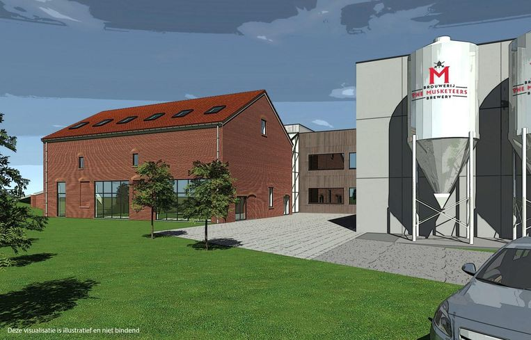 Een simulatie van de nieuwe brouwerij en de gerenoveerde steenbakkerij, waar een horecazaak in wordt ondergebracht.