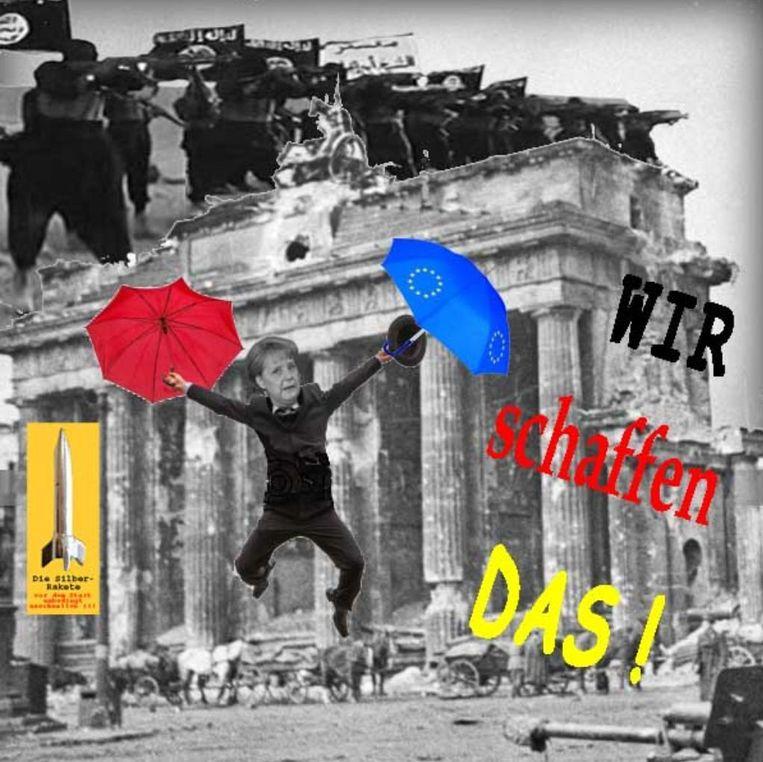 Spotprent op sociale media over Merkel's uitspraak 'Wir schaffen das'. Beeld null