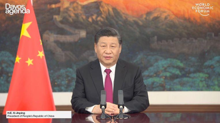 Xi Jinping tijdens zijn speech op het World Economic Forum. Beeld EPA