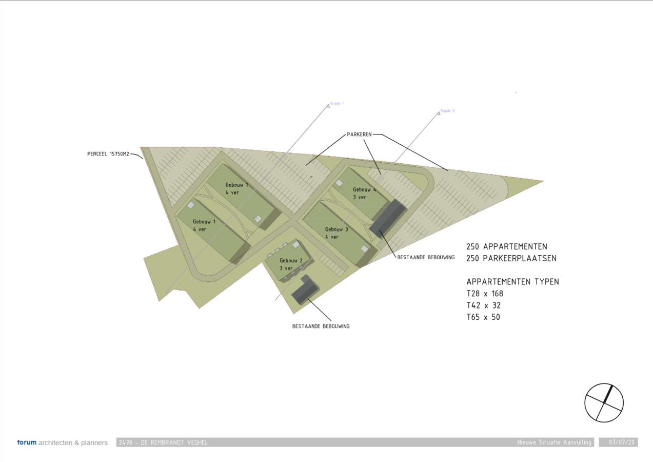 Op de website van architect Forum zijn al tekeningen te vinden van hoe de woningen gesitueerd worden.