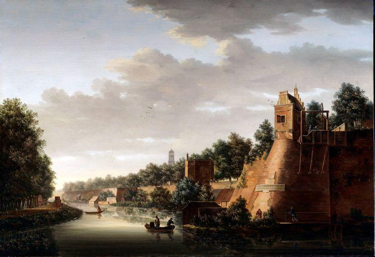 Pieter Jan van Liender: Gezicht op de stadswal van Utrecht, met rechts het bastion Zonnenburg, 1758 (Particuliere collectie).  Beeld