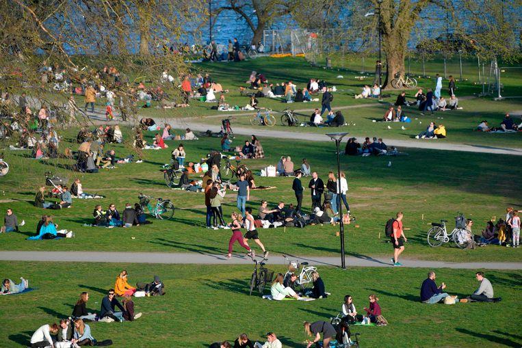 Stockholm op 22 april, in volle coronacrisis. Een beeld dat elders in Europa niet kon worden geschoten. Beeld AFP