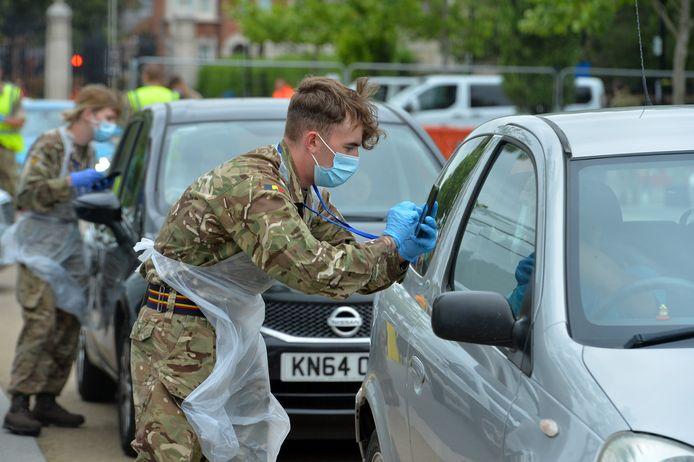 In Leicester werd een nieuwe locatie ingericht voor het afnemen van coronatests.
