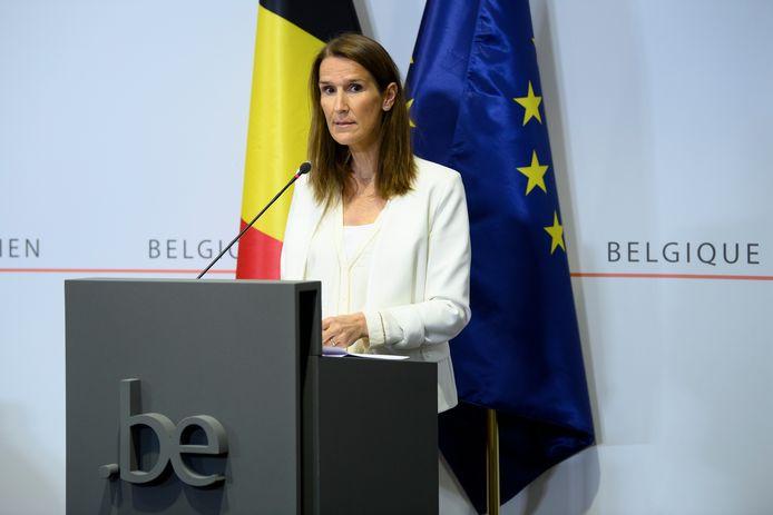 Sophie Wilmès lors de la conférence de presse du CNS ce 15 juillet.
