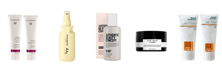 Vanaf links: Dr Hauschka Shampoo en Conditioner, IVY Flexible Spray, Authentic Beauty Concept Indulging Fluid Oil, Sisley Le Baume Restructurant Nourrissant , Africa Organics Baobab Shampoo en Conditioner. Beeld .