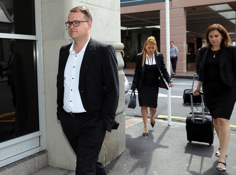 Bram van der Kolk verlaat een rechtbank in Auckland in 2015. Beeld AFP