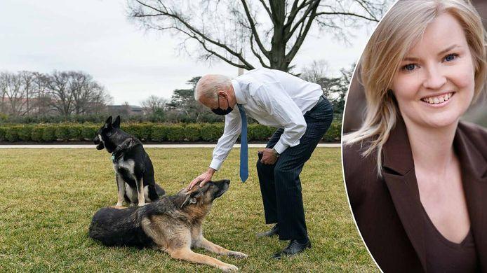 President Joe Biden begroet zijn honden Champ en Major in de rozentuin van het Witte Huis (links). Hondengedragstherapeute Inge Pauwels (rechts).