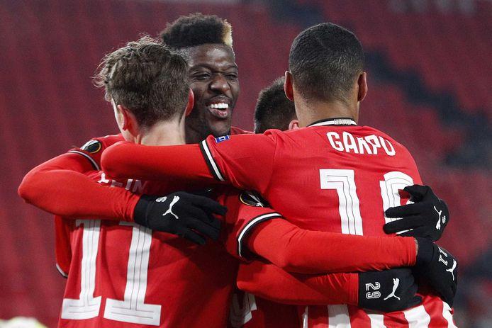 Vreugde bij PSV na een treffer tegen Omonoia Nicosia in de vorige Europese campagne.