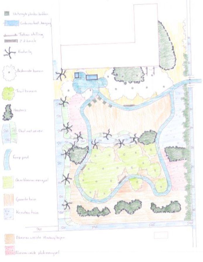 Het voorlopige ontwerp van de Samentuin in Sprang-Capelle.