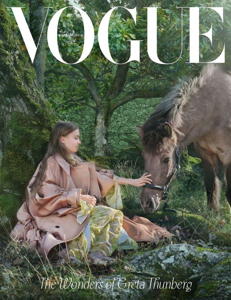 Het eerste nummer van 'Vogue Scandinavia', met Greta Thunberg en het IJslandse paard Strengur, gefotografeerd door Alexandrov Klum. Beeld voguescandinavia.com