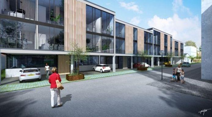 Plan voor Hessen Kasselstraat 6-8 in Eindhoven. Hier komen als het aan ontwikkelaar B&N ligt 16 appartementen op de verdieping, met ieder een werkruimte op de begane grond.