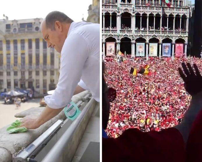 Philippe Close a fait le grand nettoyage et est prêt à accueillir les diables sur le balcon de l'hôtel de ville.