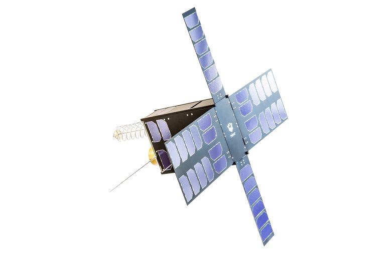 De satelliet van Hiber is grofweg zo groot als een fikse schoenendoos en heeft een antenne die eruitziet als een springveer. Op die manier verzamelt het ruimtevaartuig gegevens voor  gebruikers over de hele wereld.  Beeld null