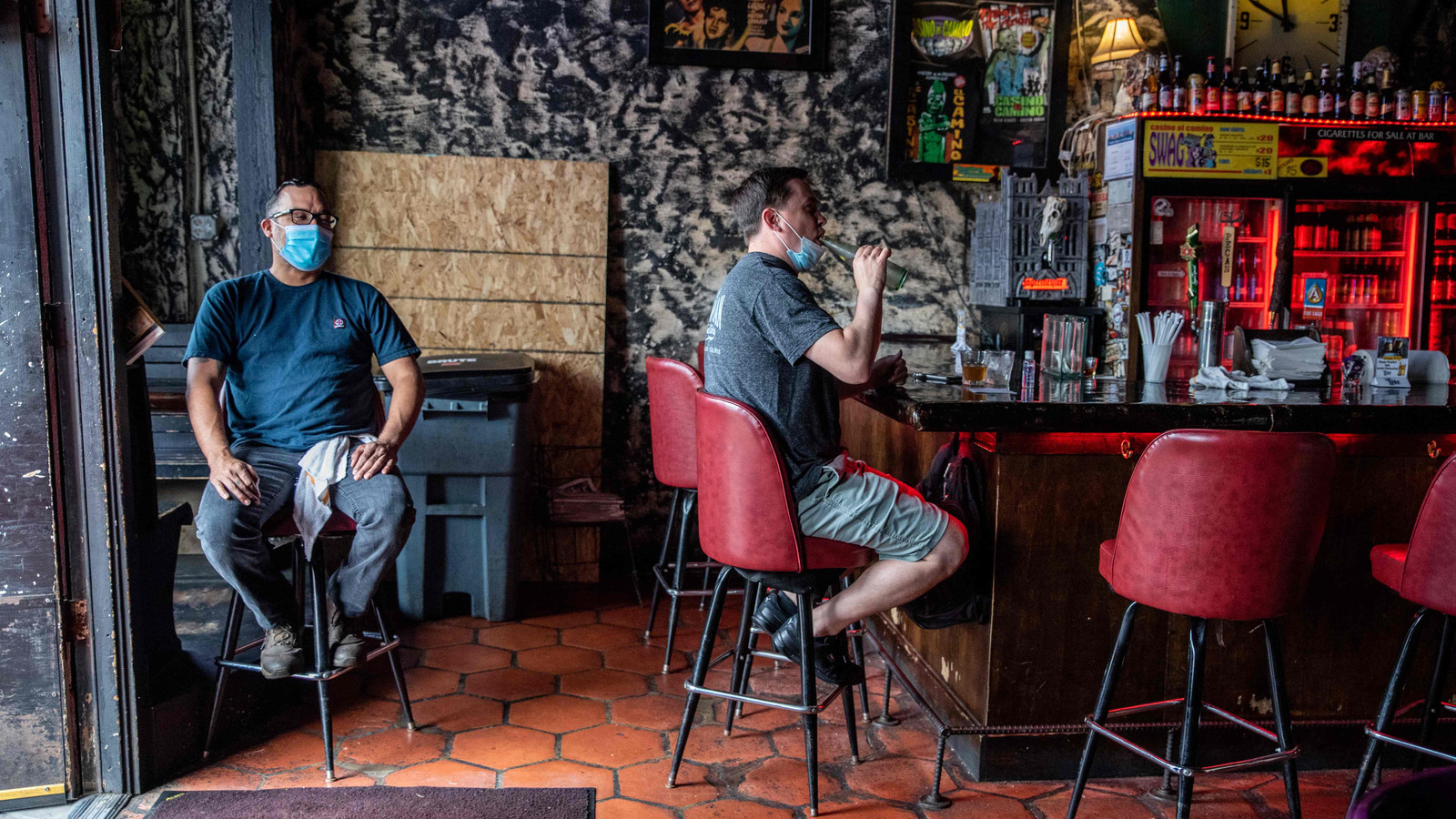 Deze bar in de Texaanse stad Austin is dit weekend weer gesloten. Alle horeca in de staat moest weer op slot, vanwege een toenemend aantal corona-besmettingen.
