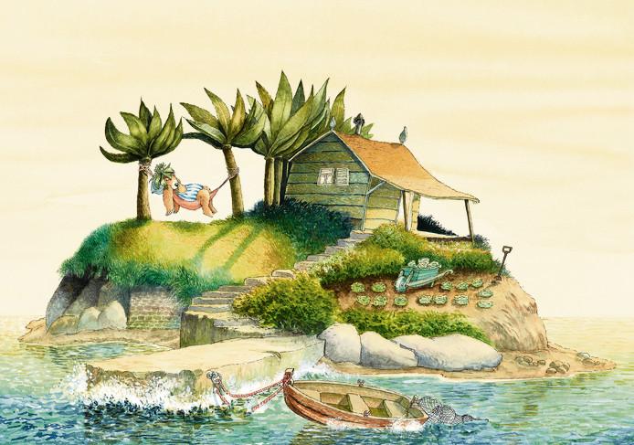 Een pagina uit het kinderboek 'Jeppe krijgt een vriend'.
