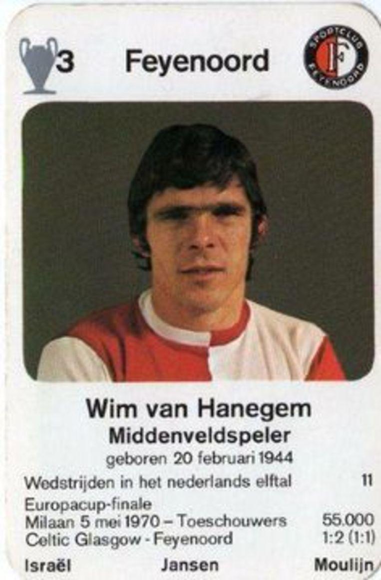 Willem van Hanegem als kaart in een kwartetspel. Beeld null