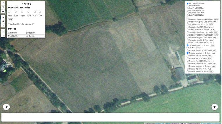 Op foto's in het Satellietdataportaal is langs de Vogelenzangsteeg bij het Groningse Noordlaren het Bolwerk zichtbaar, de resten van een zogeheten ringwalburcht, bestaand uit een binnenterrein van ongeveer 50 meter breed, omgeven door twee wallen en twee brede grachten. Beeld Satellietdataportaal
