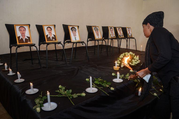 De herdenkingsplechtigheid voor de zeven bemanningsleden van Ethiopian Airline.