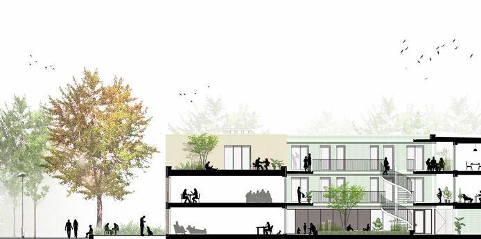 De huidige plannen van sociaal woonproject Lepelhof.
