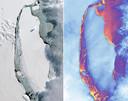Een satelliet nam deze thermische beelden van de afgebroken ijsschots.